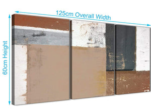 Panoramic Brown Beige Grey Abstract Painting Wall Art Print Canvas Multi 3 Piece 125cm Wide 3335 For Your Bedroom