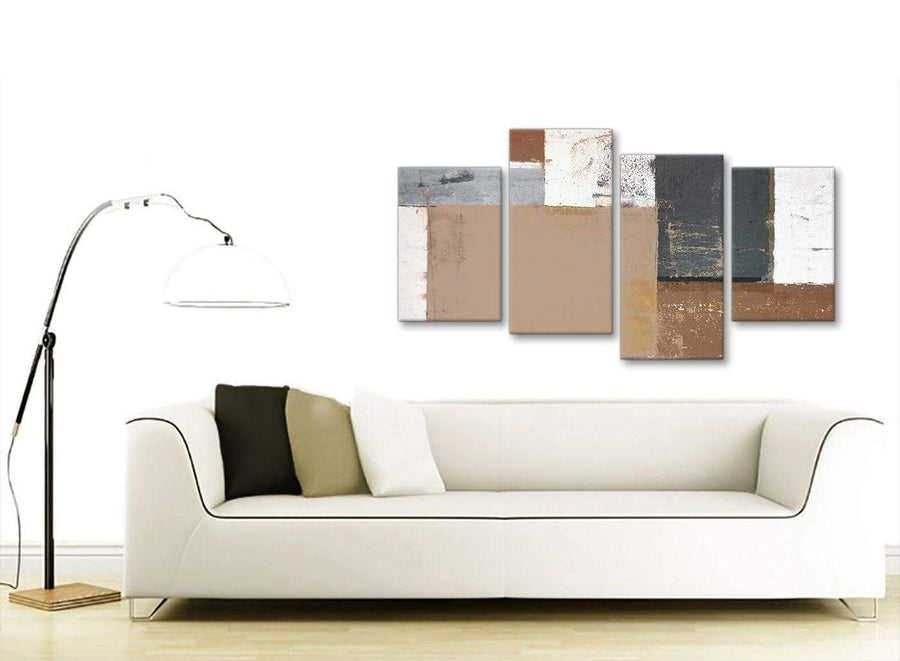 Contemporary Large Brown Beige Grey Abstract Painting Wall Art Print Canvas Multi 4 Set 130cm Wide 4335 For Your Bedroom