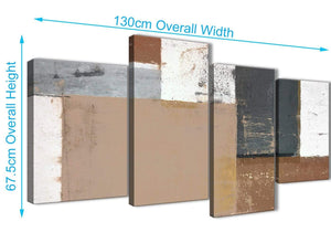 Panoramic Large Brown Beige Grey Abstract Painting Wall Art Print Canvas Multi 4 Set 130cm Wide 4335 For Your Office