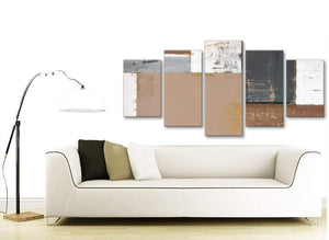 Contemporary Extra Large Brown Beige Grey Abstract Painting Wall Art Print Canvas Multi 5 Panel 160cm Wide 5335 For Your Bedroom