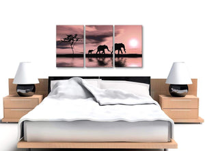 Cheap Blush Pink African Sunset Elephants Canvas Wall Art Print Multi 3 Part 125cm Wide For Your Living Room-3361