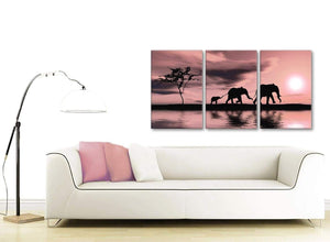 Contemporary Blush Pink African Sunset Elephants Canvas Wall Art Print Multi 3 Part 125cm Wide For Your Dining Room-3361