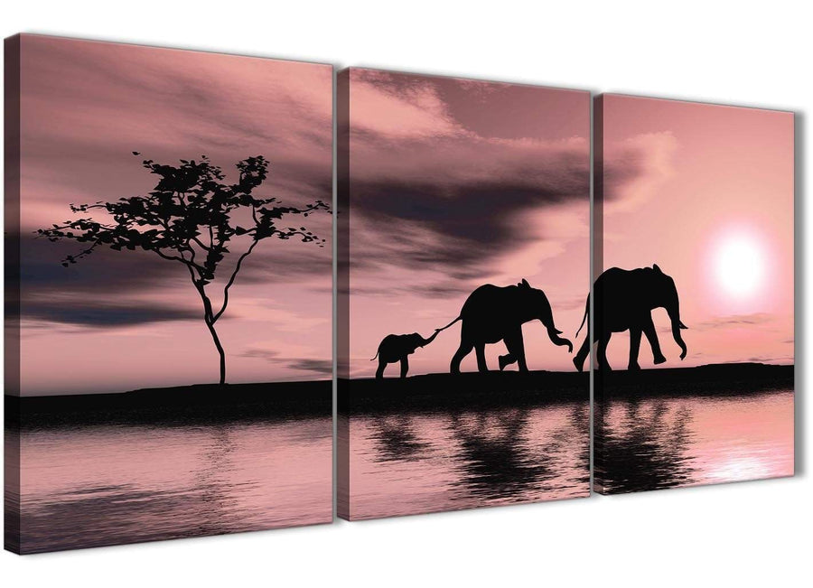 Oversized Blush Pink African Sunset Elephants Canvas Wall Art Print Multi 3 Part 125cm Wide For Your Kitchen-3361
