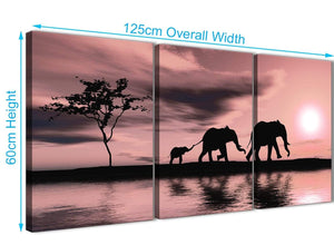 Panoramic Blush Pink African Sunset Elephants Canvas Wall Art Print Multi 3 Part 125cm Wide For Your Living Room-3361