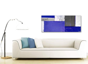 Contemporary Indigo Navy Blue Abstract Painting Canvas Wall Art Print Modern 120cm Wide 1338 For Your Dining Room