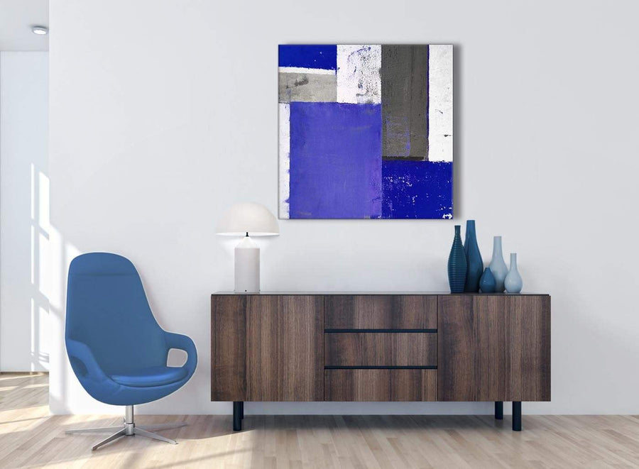 Cheap Indigo Navy Blue Abstract Painting Canvas Wall Art Print Modern 79cm Square 1S338L For Your Bedroom