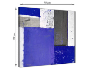 Chic Indigo Navy Blue Abstract Painting Canvas Wall Art Print Modern 79cm Square 1S338L For Your Bedroom