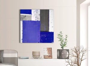 Contemporary Indigo Navy Blue Abstract Painting Canvas Wall Art Print Modern 79cm Square 1S338L For Your Bedroom