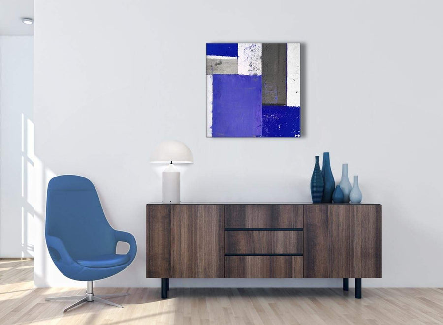 Cheap Indigo Navy Blue Abstract Painting Canvas Wall Art Print Modern 64cm Square 1S338M For Your Living Room