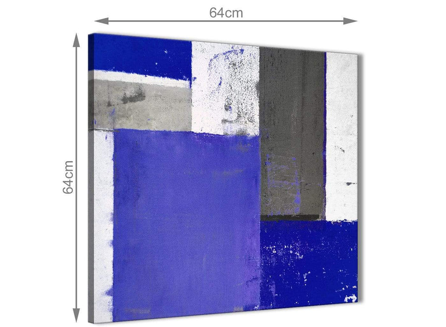 Chic Indigo Navy Blue Abstract Painting Canvas Wall Art Print Modern 64cm Square 1S338M For Your Bedroom