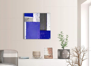 Contemporary Indigo Navy Blue Abstract Painting Canvas Wall Art Print Modern 64cm Square 1S338M For Your Living Room