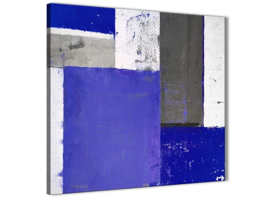 Modern Indigo Navy Blue Abstract Painting Canvas Wall Art Print Modern 64cm Square 1S338M For Your Dining Room