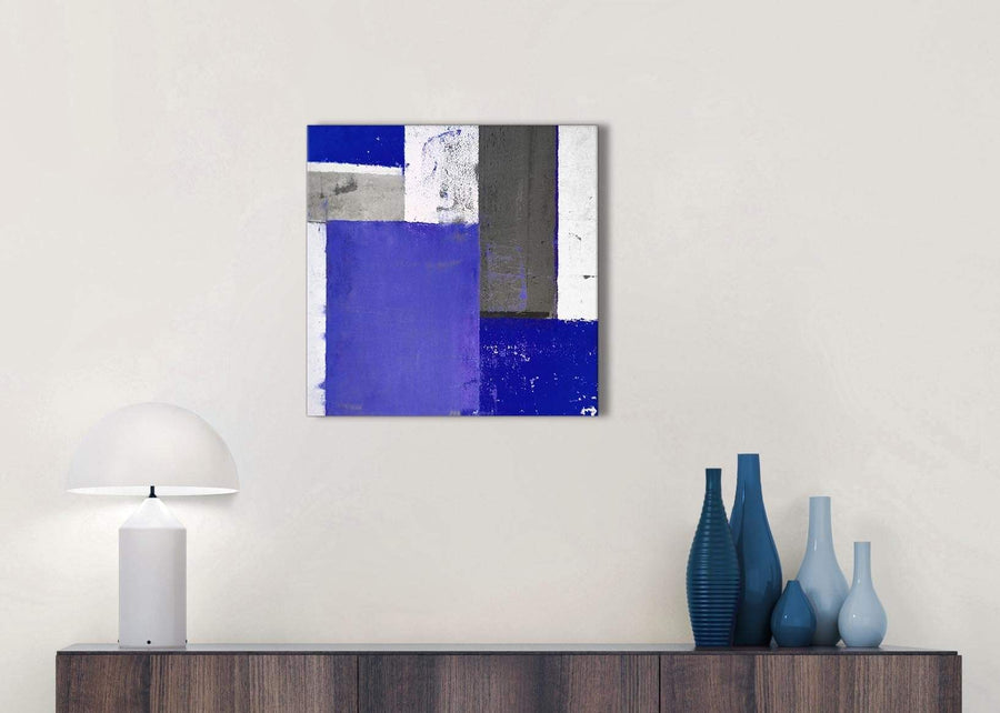 Cheap Indigo Navy Blue Abstract Painting Canvas Wall Art Print Modern 49cm Square 1S338S For Your Bedroom