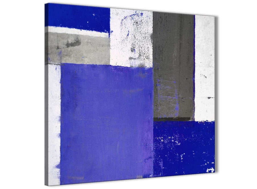 Modern Indigo Navy Blue Abstract Painting Canvas Wall Art Print Modern 49cm Square 1S338S For Your Bedroom