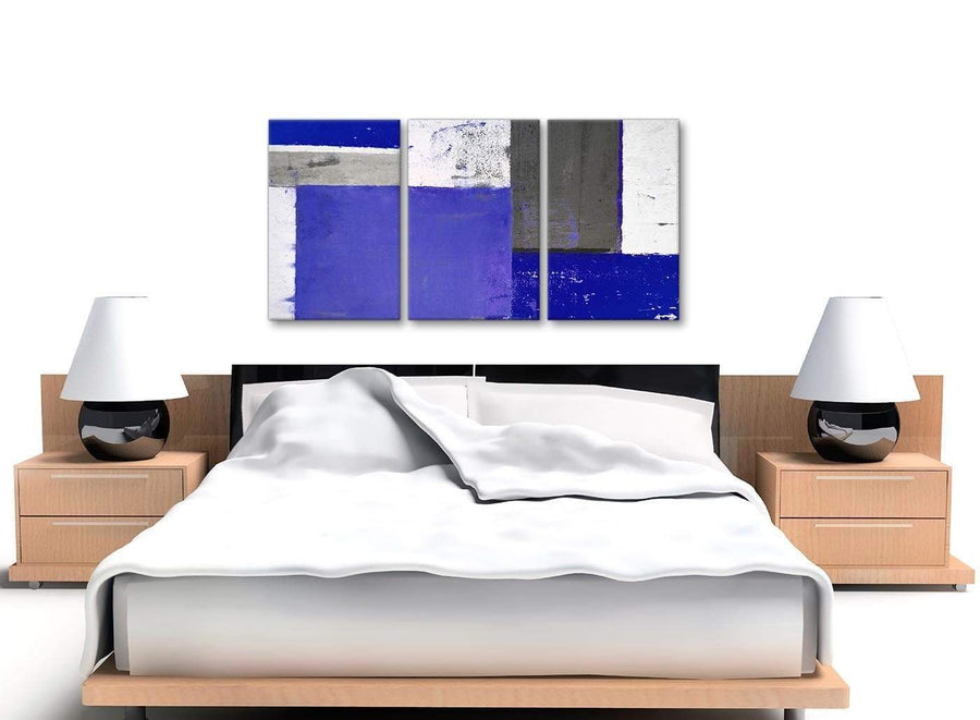 Cheap Indigo Navy Blue Abstract Painting Canvas Wall Art Print Multi Set Of 3 125cm Wide 3338 For Your Living Room