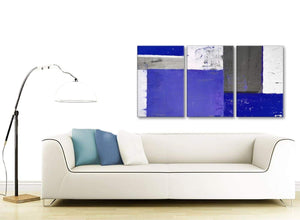 Contemporary Indigo Navy Blue Abstract Painting Canvas Wall Art Print Multi Set Of 3 125cm Wide 3338 For Your Dining Room