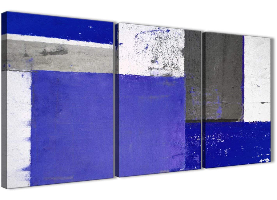 Oversized Indigo Navy Blue Abstract Painting Canvas Wall Art Print Multi Set Of 3 125cm Wide 3338 For Your Living Room