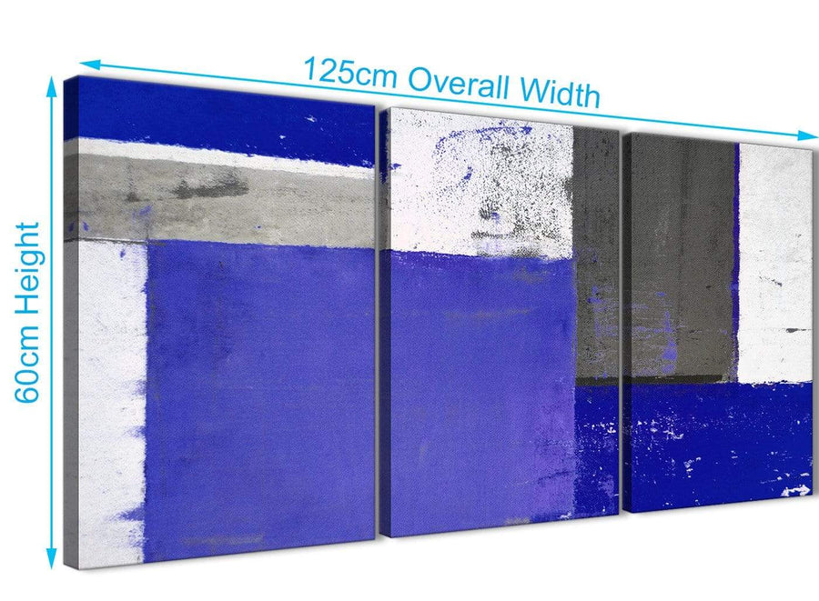 Panoramic Indigo Navy Blue Abstract Painting Canvas Wall Art Print Multi Set Of 3 125cm Wide 3338 For Your Bedroom