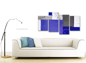 Contemporary Large Indigo Navy Blue Abstract Painting Canvas Wall Art Print Multi 4 Set 130cm Wide 4338 For Your Bedroom