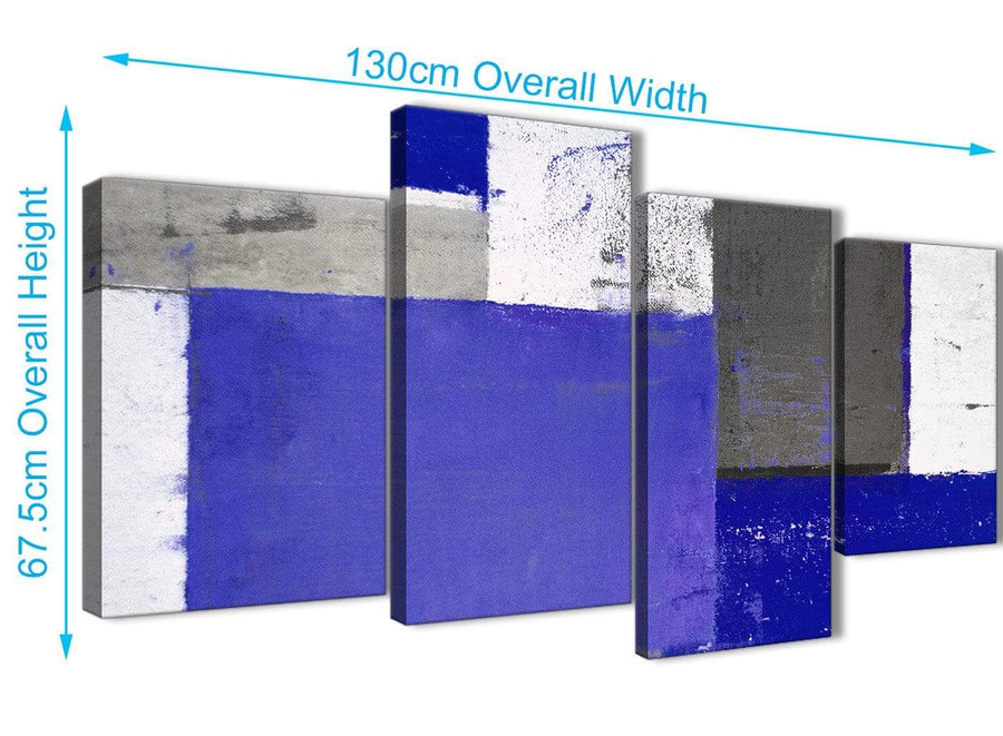 Panoramic Large Indigo Navy Blue Abstract Painting Canvas Wall Art Print Multi 4 Set 130cm Wide 4338 For Your Living Room