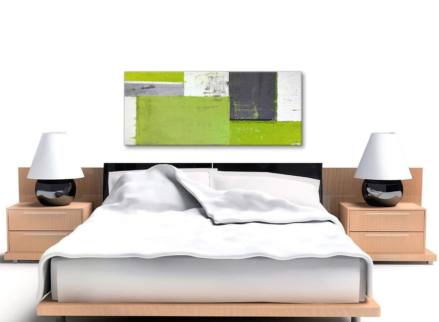Cheap Lime Green Grey Abstract Painting Canvas Wall Art Print Modern 120cm Wide 1339 For Your Bedroom