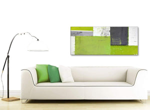 Contemporary Lime Green Grey Abstract Painting Canvas Wall Art Print Modern 120cm Wide 1339 For Your Living Room
