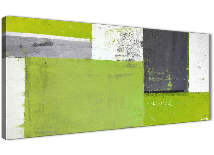 Oversized Lime Green Grey Abstract Painting Canvas Wall Art Print Modern 120cm Wide 1339 For Your Dining Room