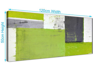 Panoramic Lime Green Grey Abstract Painting Canvas Wall Art Print Modern 120cm Wide 1339 For Your Bedroom
