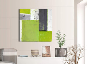 Contemporary Lime Green Grey Abstract Painting Canvas Wall Art Print Modern 79cm Square 1S339L For Your Bedroom