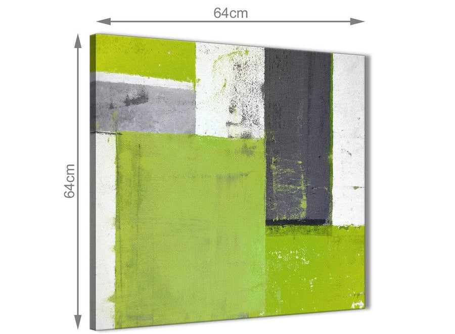 Chic Lime Green Grey Abstract Painting Canvas Wall Art Print Modern 64cm Square 1S339M For Your Living Room