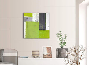 Contemporary Lime Green Grey Abstract Painting Canvas Wall Art Print Modern 64cm Square 1S339M For Your Dining Room