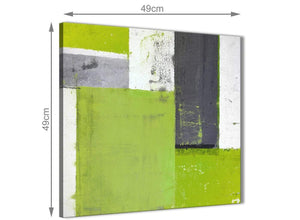 Chic Lime Green Grey Abstract Painting Canvas Wall Art Print Modern 49cm Square 1S339S For Your Dining Room