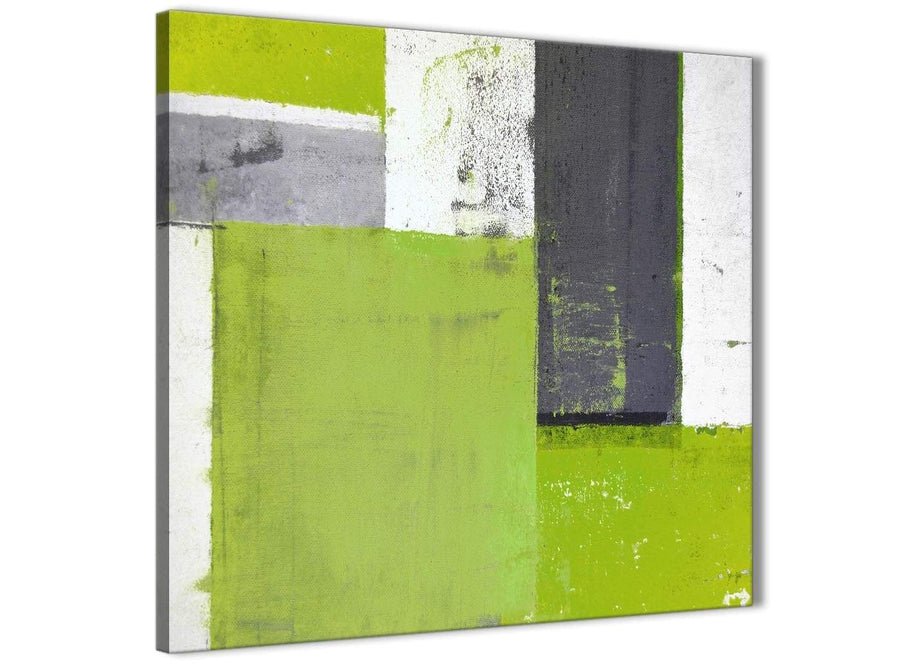 Modern Lime Green Grey Abstract Painting Canvas Wall Art Print Modern 49cm Square 1S339S For Your Living Room