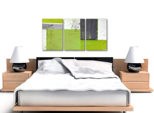 Cheap Lime Green Grey Abstract Painting Canvas Wall Art Print Split 3 Set 125cm Wide 3339 For Your Dining Room