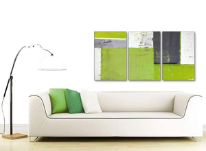 Contemporary Lime Green Grey Abstract Painting Canvas Wall Art Print Split 3 Set 125cm Wide 3339 For Your Dining Room