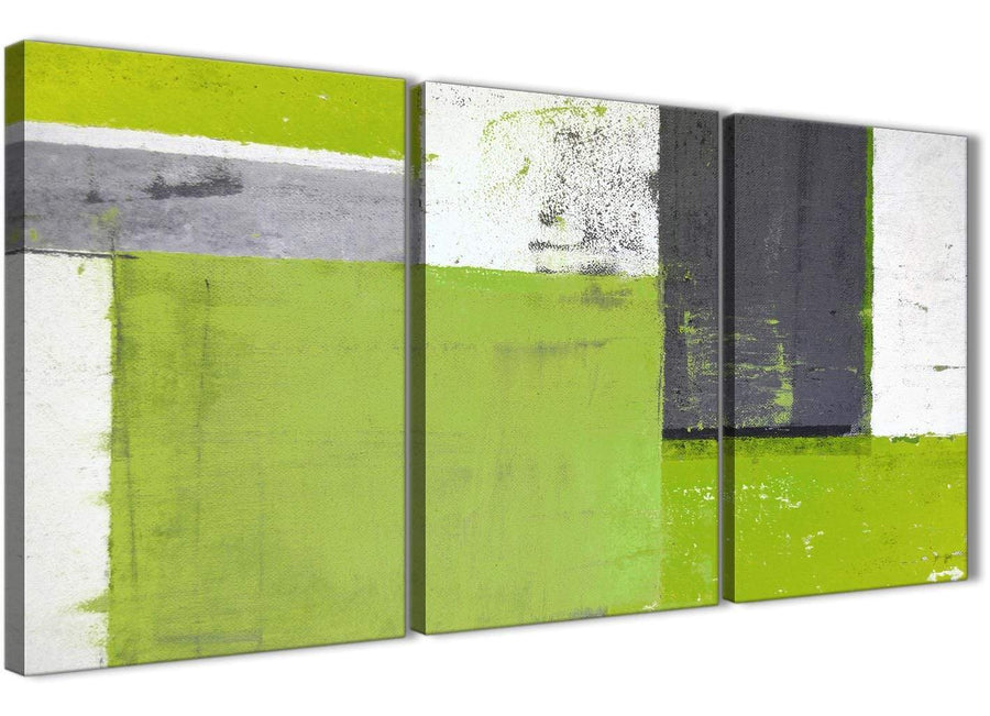 Oversized Lime Green Grey Abstract Painting Canvas Wall Art Print Split 3 Set 125cm Wide 3339 For Your Dining Room
