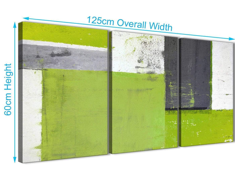 Panoramic Lime Green Grey Abstract Painting Canvas Wall Art Print Split 3 Set 125cm Wide 3339 For Your Bedroom