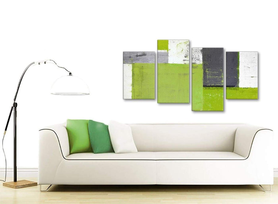 Contemporary Large Lime Green Grey Abstract Painting Canvas Wall Art Print Split 4 Piece 130cm Wide 4339 For Your Living Room