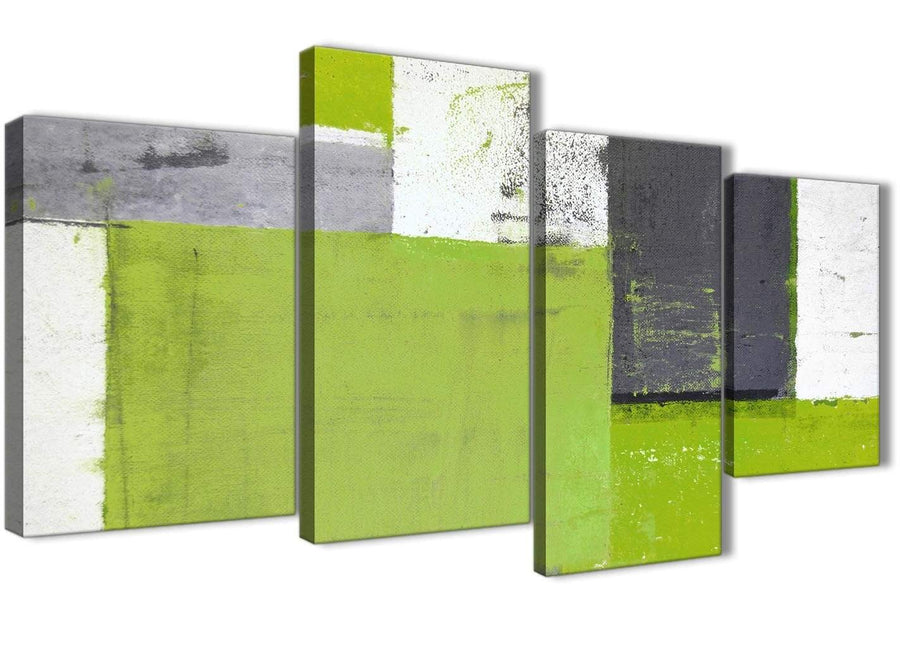 Oversized Large Lime Green Grey Abstract Painting Canvas Wall Art Print Split 4 Piece 130cm Wide 4339 For Your Bedroom
