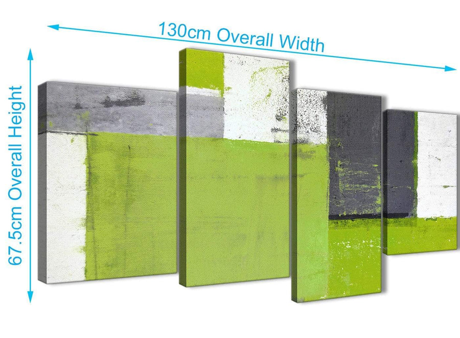 Panoramic Large Lime Green Grey Abstract Painting Canvas Wall Art Print Split 4 Piece 130cm Wide 4339 For Your Living Room
