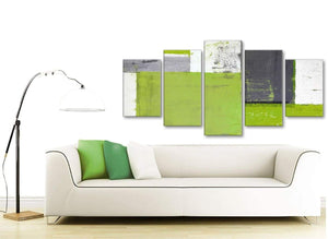 Contemporary Extra Large Lime Green Grey Abstract Painting Canvas Wall Art Print Split 5 Set 160cm Wide 5339 For Your Living Room