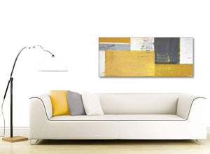 Contemporary Mustard Yellow Grey Abstract Painting Canvas Wall Art Print Modern 120cm Wide 1340 For Your Kitchen