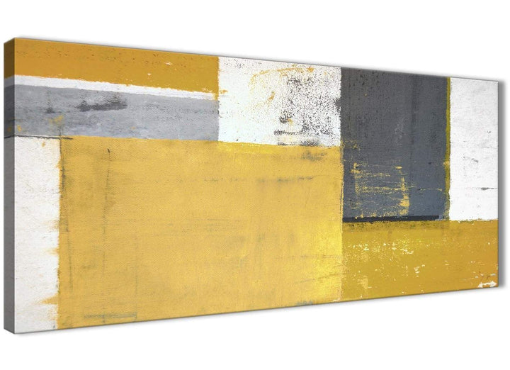 Oversized Mustard Yellow Grey Abstract Painting Canvas Wall Art Print Modern 120cm Wide 1340 For Your Kitchen