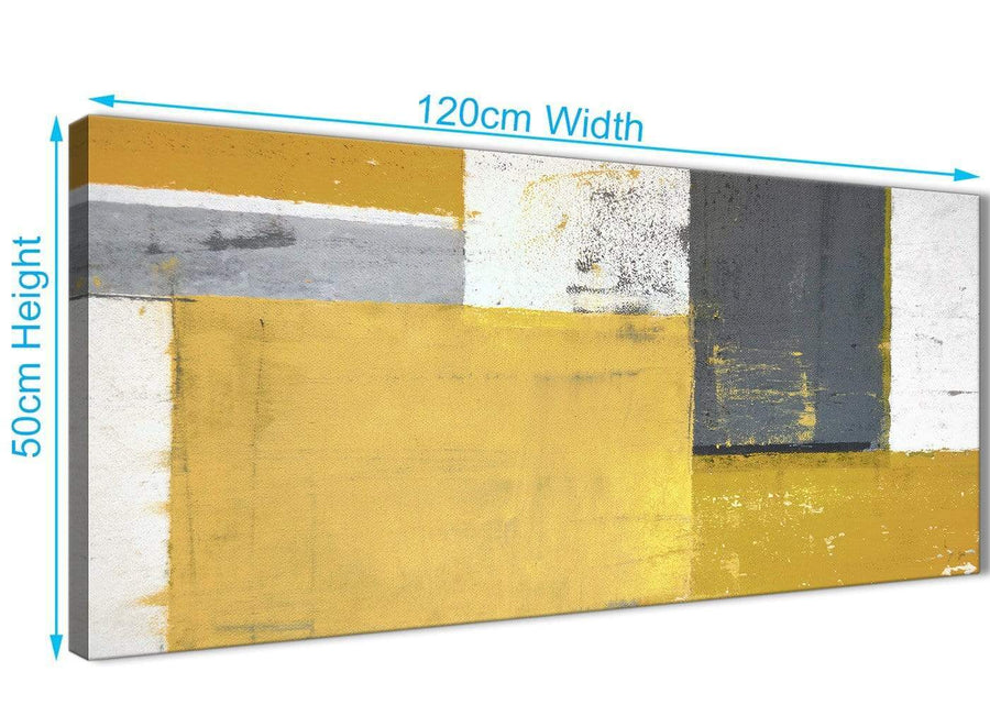 Panoramic Mustard Yellow Grey Abstract Painting Canvas Wall Art Print Modern 120cm Wide 1340 For Your Dining Room