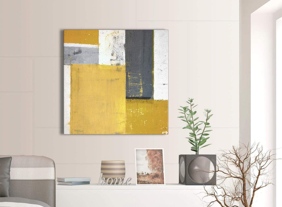 Contemporary Mustard Yellow Grey Abstract Painting Canvas Wall Art Print Modern 79cm Square 1S340L For Your Living Room