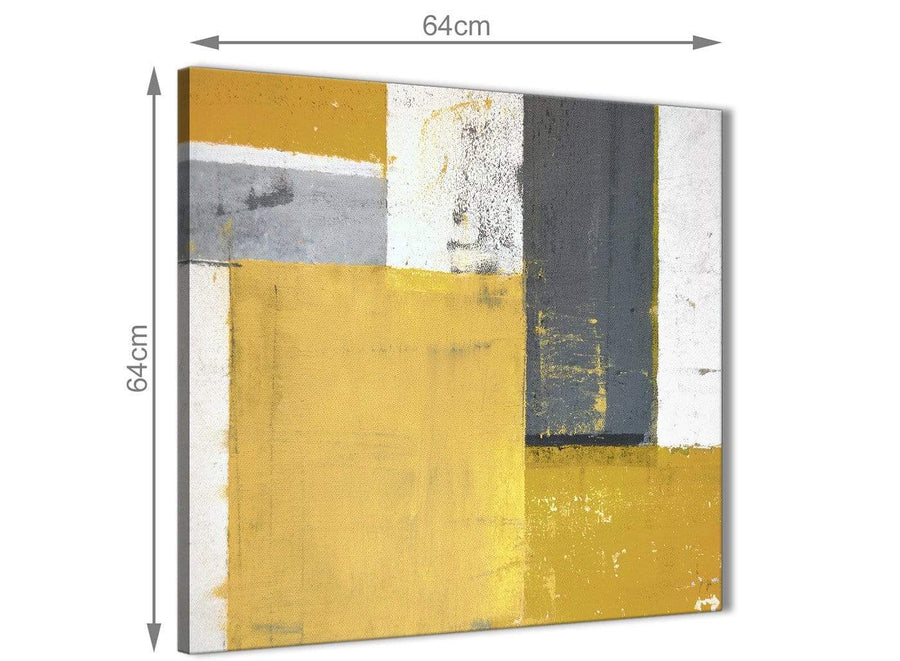 Chic Mustard Yellow Grey Abstract Painting Canvas Wall Art Print Modern 64cm Square 1S340M For Your Living Room