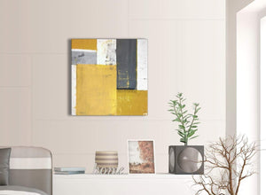 Contemporary Mustard Yellow Grey Abstract Painting Canvas Wall Art Print Modern 64cm Square 1S340M For Your Kitchen
