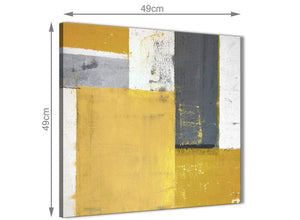 Chic Mustard Yellow Grey Abstract Painting Canvas Wall Art Print Modern 49cm Square 1S340S For Your Kitchen