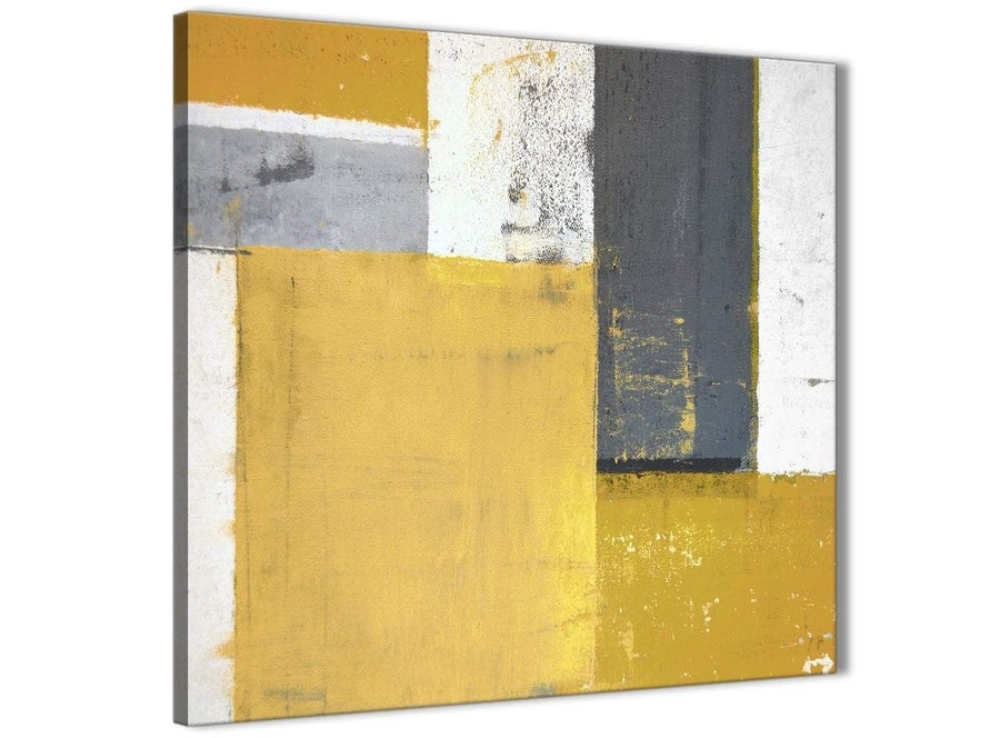 Modern Mustard Yellow Grey Abstract Painting Canvas Wall Art Print Modern 49cm Square 1S340S For Your Dining Room