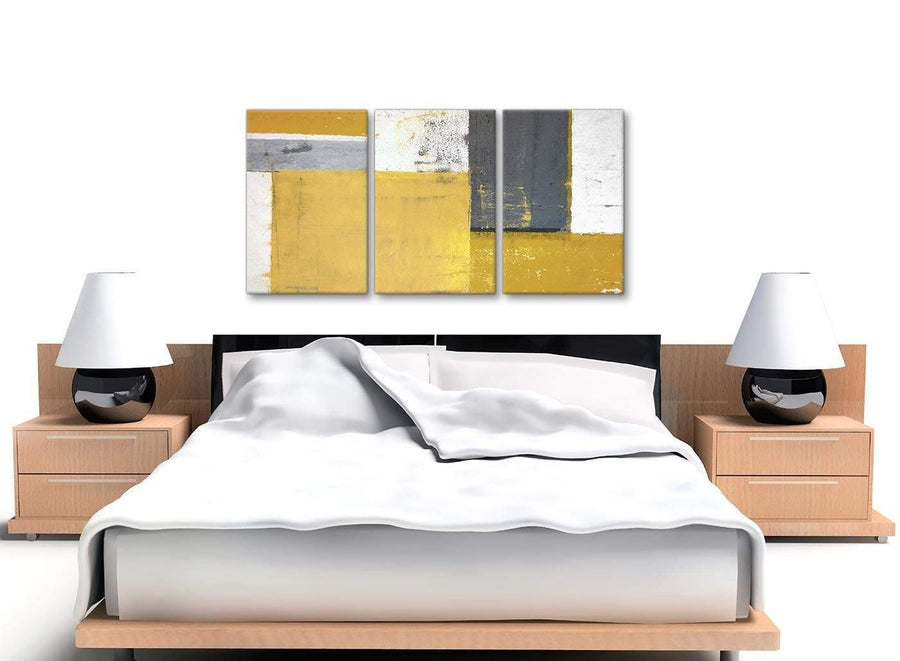 Cheap Mustard Yellow Grey Abstract Painting Canvas Wall Art Print Split 3 Piece 125cm Wide 3340 For Your Dining Room